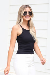 Ribbed Knit Tank in Black Side View