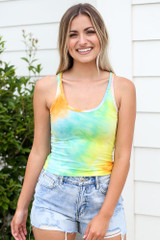 Yellow - Tie-Dye Cropped Tank from Dress Up
