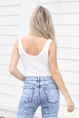 Ribbed Knit Tank Bodysuit in White Back View