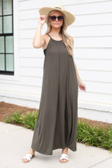 Olive - Model wearing the High Neck Maxi Dress with slip on sandals