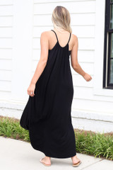 High Neck Maxi Dress in Black Back View