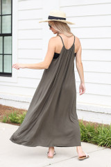 High Neck Maxi Dress in Olive Back View