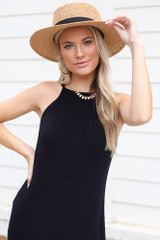 Black - Close Up of the Smocked High Neck Maxi Dress