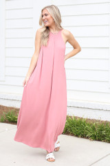 Blush - Dress Up model wearing the Smocked High Neck Maxi Dress