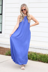 Blue - Dress Up model wearing the Smocked High Neck Maxi Dress with sandals