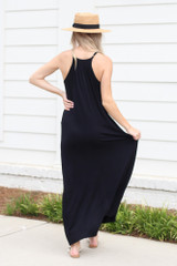 Smocked High Neck Maxi Dress in Black Back View