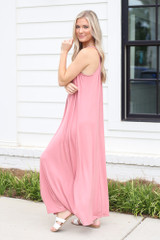 Smocked High Neck Maxi Dress in Blush Side View