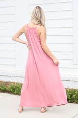 Smocked High Neck Maxi Dress in Blush Back View
