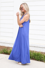 Smocked High Neck Maxi Dress in Blue Side View