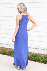 Smocked High Neck Maxi Dress in Blue Back View
