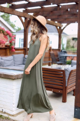 Olive - Smocked High Neck Maxi Dress from Dress Up