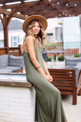 Smocked High Neck Maxi Dress in Olive Side View
