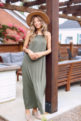 Olive - Smocked High Neck Maxi Dress