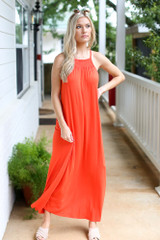 Red - Model wearing the Smocked High Neck Maxi Dress with slides
