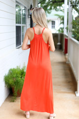 Smocked High Neck Maxi Dress in Red Back View