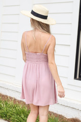 Smocked Swing Dress in Mauve Back View