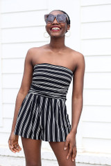 Black - Striped Strapless Romper