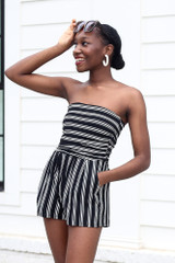 Black - Striped Strapless Romper from Dress Up