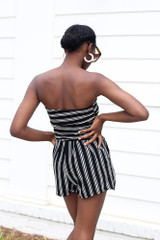 Striped Strapless Romper Back View