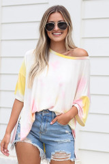 Light Pink - Oversized Tie-Dye Top