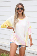 Oversized Tie-Dye Top Front View