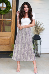 Lavender - Striped Pleated Midi Skirt