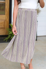 Lavender - Striped Pleated Midi Skirt from Dress Up