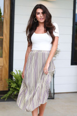 Model wearing the Striped Pleated Midi Skirt