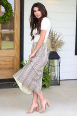 Striped Pleated Midi Skirt Side View