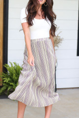 Close Up of the Striped Pleated Midi Skirt