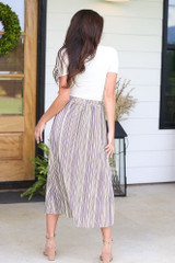 Striped Pleated Midi Skirt Back View