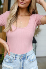 Blush - Close Up of the Ribbed Knit Bodysuit