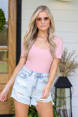 Ribbed Knit Bodysuit in Blush Front View