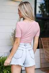 Ribbed Knit Bodysuit in Blush Back View