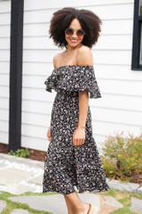 Floral Midi Dress in Black Front View