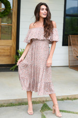 Floral Midi Dress in Mocha Front View