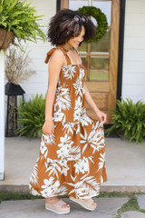 Smocked Floral Maxi Dress Side View