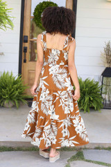 Smocked Floral Maxi Dress Back View