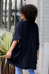 Lightweight Kimono in Black Back View