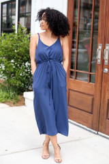 Navy - Wide Leg Culotte Jumpsuit