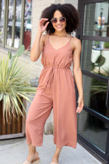 Camel - Dress Up model wearing the Wide Leg Culotte Jumpsuit