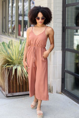 Wide Leg Culotte Jumpsuit in Camel Front View