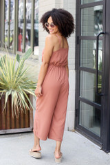 Wide Leg Culotte Jumpsuit in Camel Back View