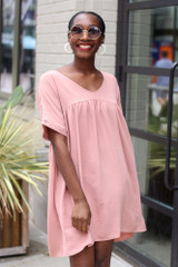 Blush - Model wearing the Babydoll Dress with sunglasses