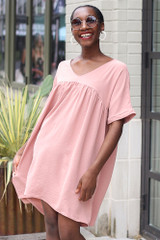 Blush - Dress Up model wearing the Babydoll Dress with sunglasses