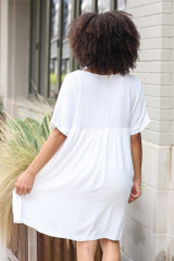 Babydoll Dress in White Back View