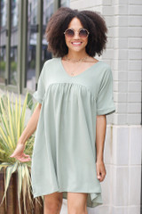 Babydoll Dress in Sage Front View