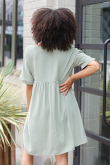 Babydoll Dress in Sage Back View