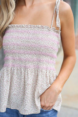 Ivory - Smocked Peplum Tank from Dress Up