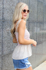 Smocked Peplum Tank in Ivory Side View